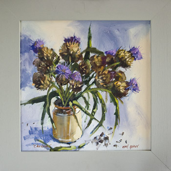 painting still life of thistles cardoons