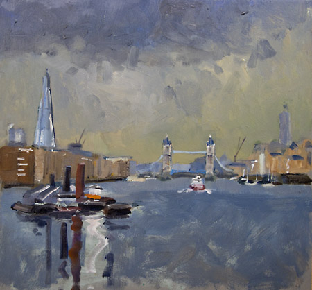the shard and tower bridge painted in oils