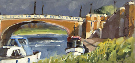 hampton court bridge painted in oils