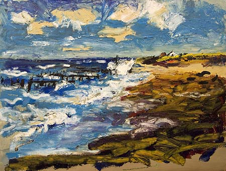 Abstract Oil Paintings Stormy Beach
