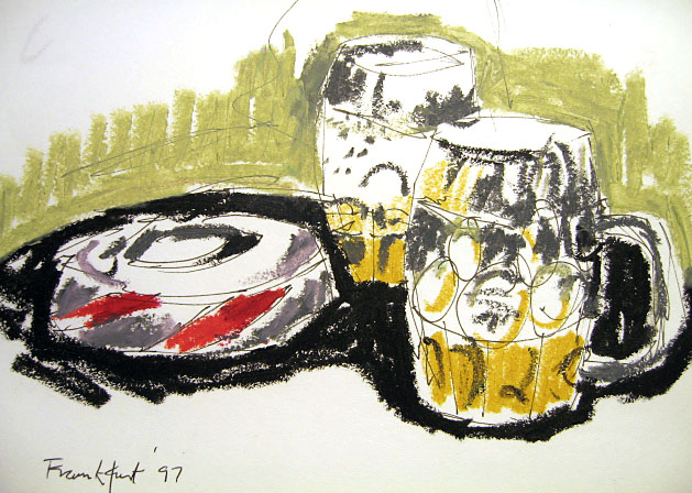 Beer and oil pastels