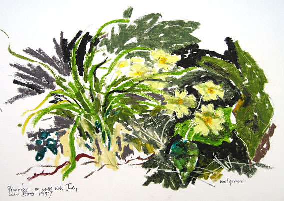 Primroses in oil pastels