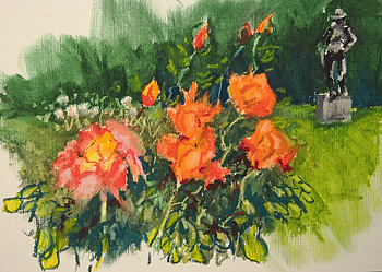 roses and oil pastels