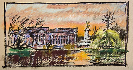 buckingham palace in pastels