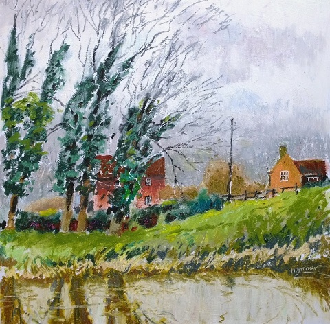 oil pastel painting on river stour