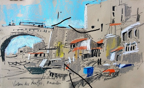 marseilles harbour in pastels