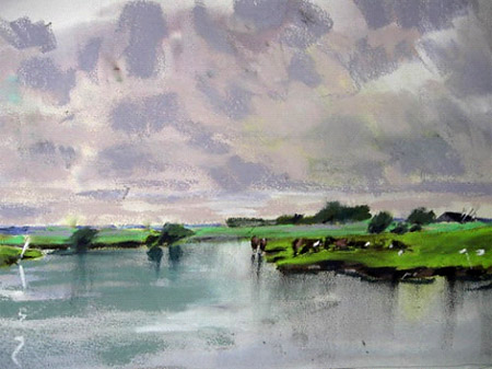 Pastel painting on the Fens near Ely mixed media