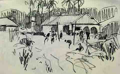 charcoal of boys playing football in the Niger Delta