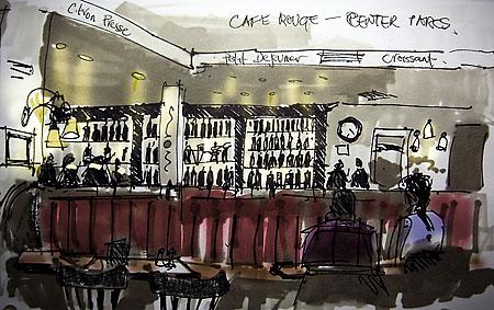 digital and pen sketch cafe rouge