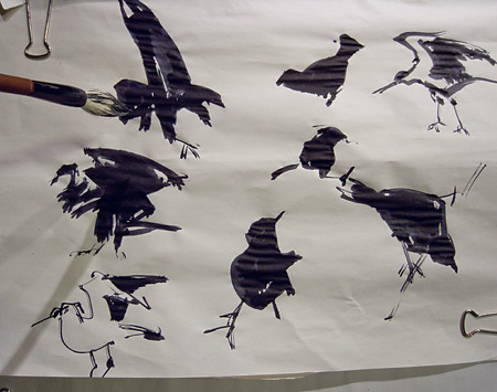 birds sketched with ink