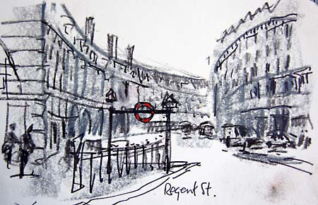Regent street london early morning sketch in pencil crayon and pastel