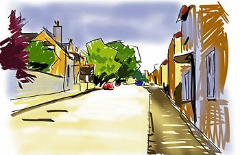 collyweston high street digital sketch