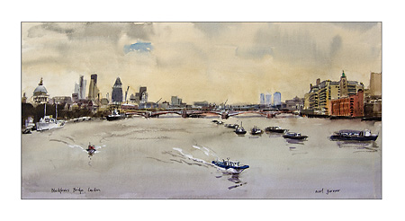 watercolour of Blackfriars Bridge central london