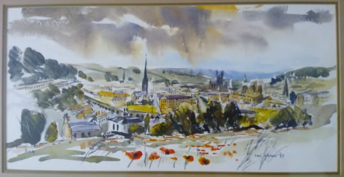 watercolour of bath