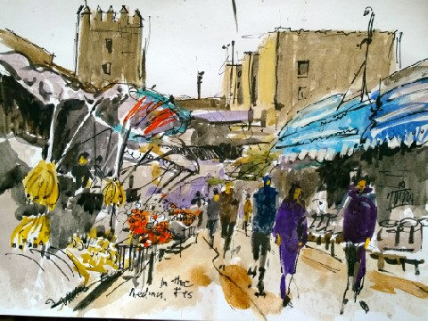 watercolour in fes medina