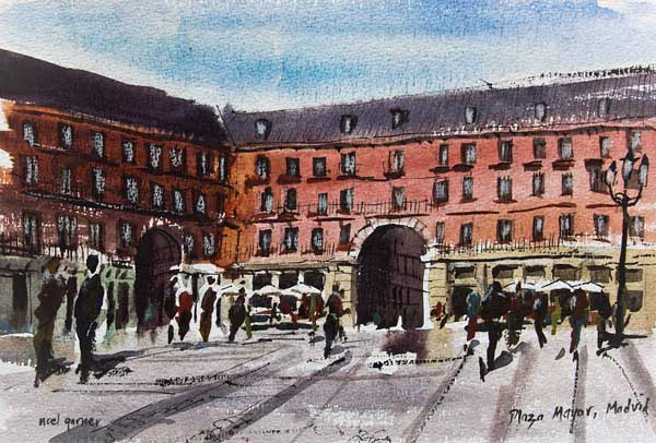 Plaza Mayor MAdrid in watercolor