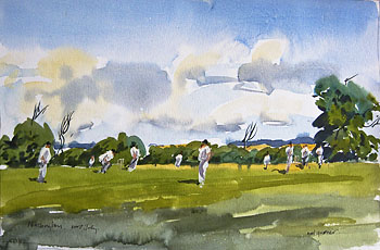 nassington cricket match in watercolour