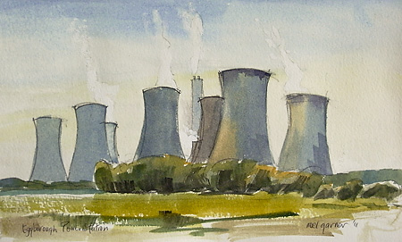 Cooling towers at power station watercolour sketch